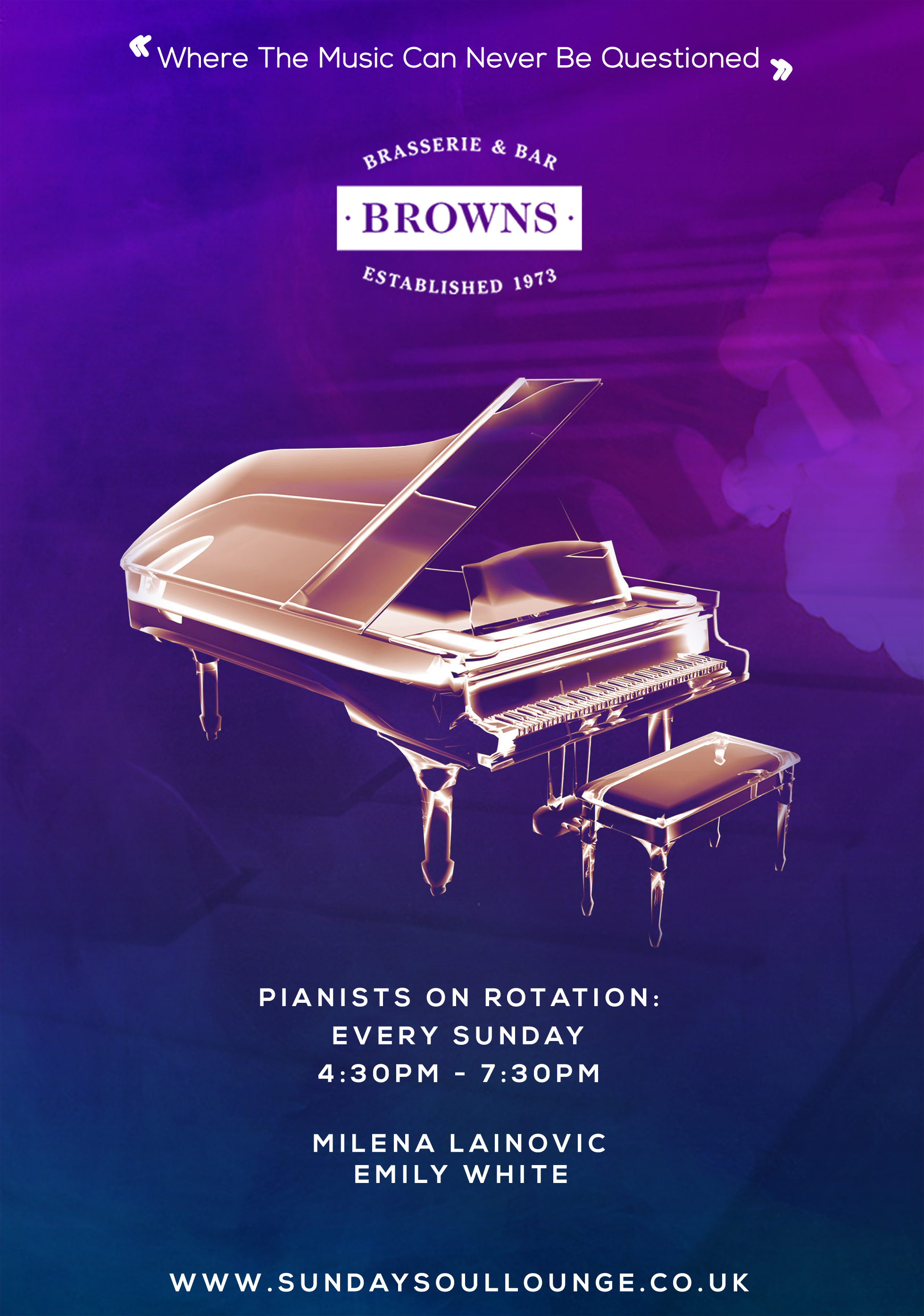 Emily White playing at Browns, Bluewater   Sunday SouLounge